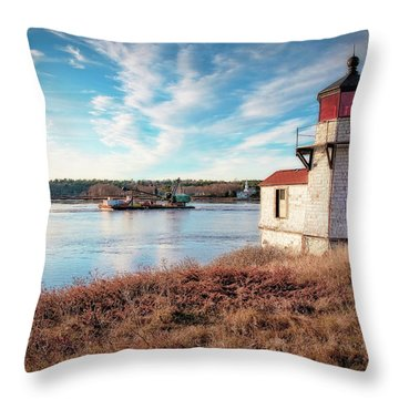 Tugboat, Squirrel Point Lighthouse Throw Pillow