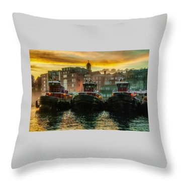 Tugboats In Portsmouth Harbor At Dawn Throw Pillow