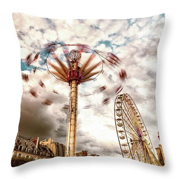 Tuilerie Garden Paris Swings Throw Pillow