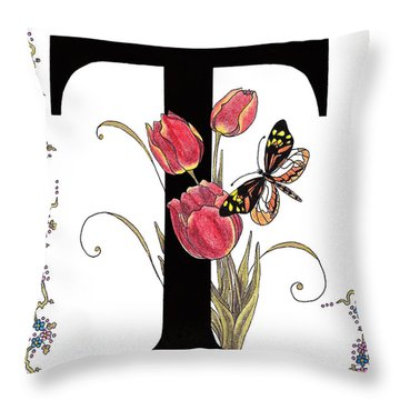 Tulip And Tiger Pierid Butterfly Throw Pillow by Stanza Widen