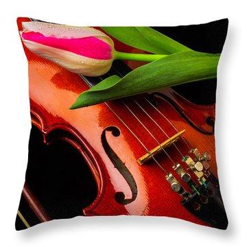 Tulip And Violin Throw Pillow