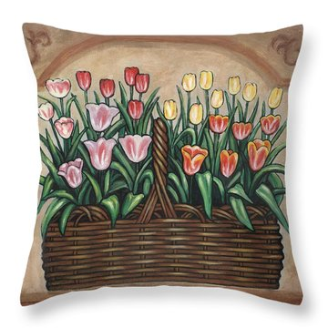 Tulip Basket Throw Pillow by Linda Mears