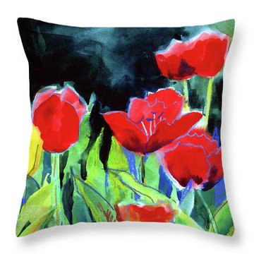 Throw Pillow featuring the painting Tulip Bed At Dark by Kathy Braud