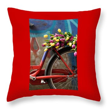 Tulip Bike Throw Pillow