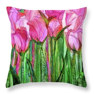 Tulip Bloomies 1 - Pink Throw Pillow by Carol Cavalaris
