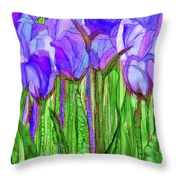 Tulip Bloomies 1 - Purple Throw Pillow by Carol Cavalaris