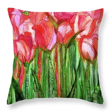 Tulip Bloomies 1 - Red Throw Pillow by Carol Cavalaris