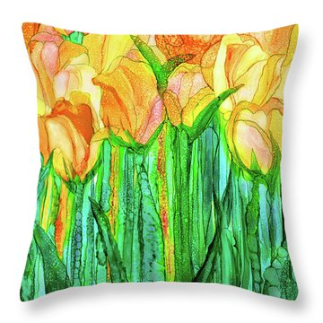 Tulip Bloomies 1 - Yellow Throw Pillow by Carol Cavalaris