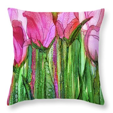 Tulip Bloomies 2 - Pink Throw Pillow by Carol Cavalaris
