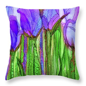 Tulip Bloomies 2 - Purple Throw Pillow by Carol Cavalaris
