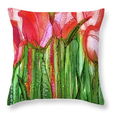 Tulip Bloomies 2 - Red Throw Pillow by Carol Cavalaris
