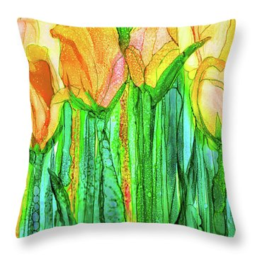 Tulip Bloomies 2 - Yellow Throw Pillow by Carol Cavalaris