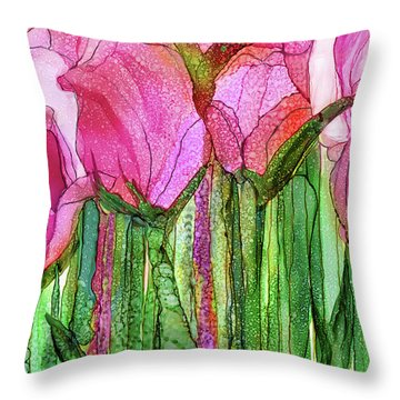 Tulip Bloomies 3 - Pink Throw Pillow by Carol Cavalaris