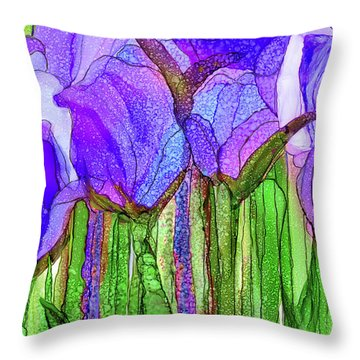 Tulip Bloomies 3 - Purple Throw Pillow by Carol Cavalaris