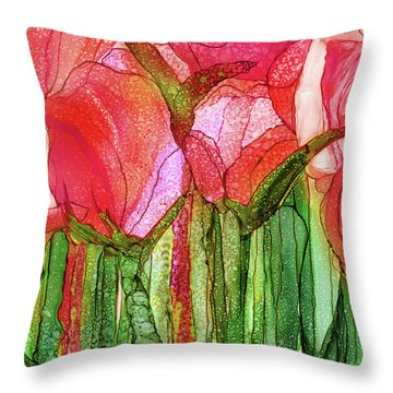 Tulip Bloomies 3 - Red Throw Pillow by Carol Cavalaris