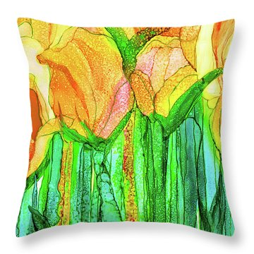 Tulip Bloomies 3 - Yellow Throw Pillow by Carol Cavalaris