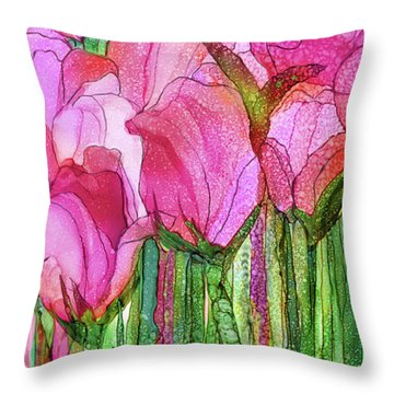 Tulip Bloomies 4 - Pink Throw Pillow by Carol Cavalaris