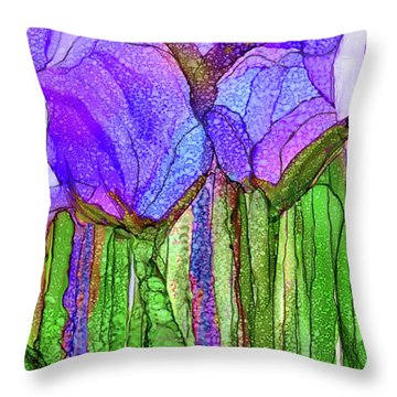Tulip Bloomies 4 - Purple Throw Pillow by Carol Cavalaris
