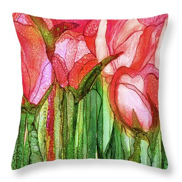 Tulip Bloomies 4 - Red Throw Pillow by Carol Cavalaris
