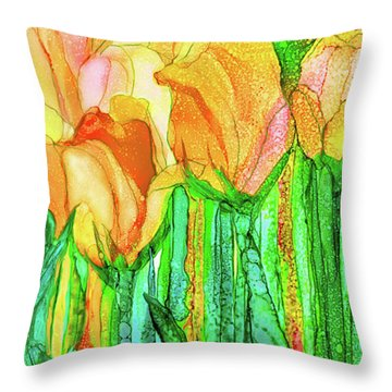 Tulip Bloomies 4 - Yellow Throw Pillow by Carol Cavalaris