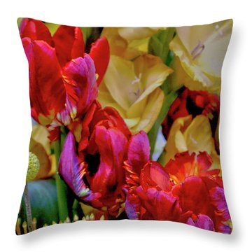 Tulip Bouquet Throw Pillow by Sandy Moulder