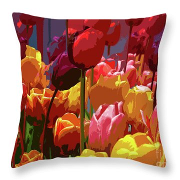 Tulip Confusion Throw Pillow
