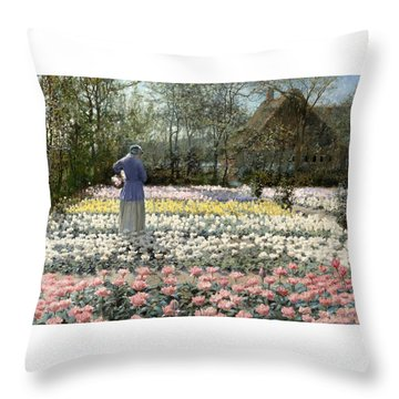 Throw Pillow featuring the painting Tulip Culture by George Hitchcock