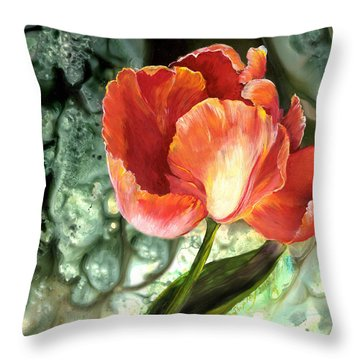 Throw Pillow featuring the painting Tulip Dance by Sherry Shipley