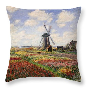 Tulip Fields With The Rijnsburg Windmill Throw Pillow by Claude Monet