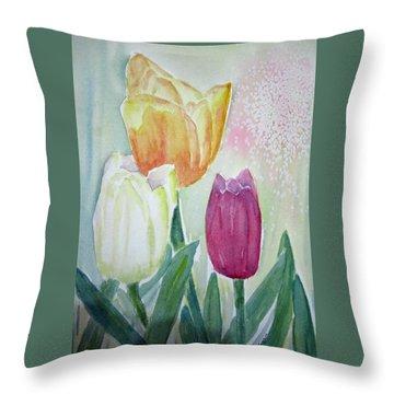 Tulips  Throw Pillow by Elvira Ingram