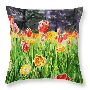Throw Pillow featuring the painting Tulip Garden In San Francisco by Irina Sztukowski