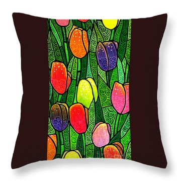 Throw Pillow featuring the painting Tulip Glory by Jim Harris