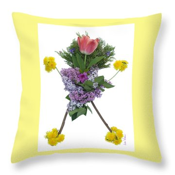 Throw Pillow featuring the digital art Tulip Head by Lise Winne