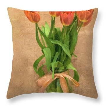 Tulip Impasto Throw Pillow