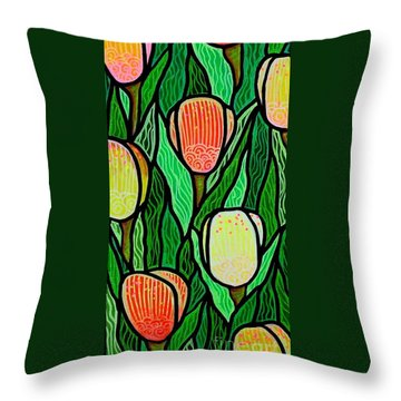 Throw Pillow featuring the painting Tulip Joy 2 by Jim Harris