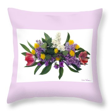 Throw Pillow featuring the digital art Tulip Lilac And Dandelion Bouquet by Lise Winne