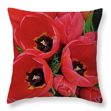 Tulip Parade Throw Pillow