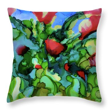 Tulip Poppy Throw Pillow by Johanne Peale