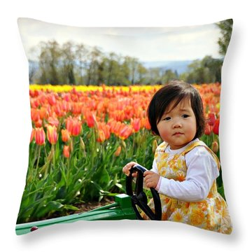 Tulip Princess  Throw Pillow by Mindy Bench