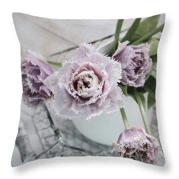 Throw Pillow featuring the photograph Tulip Ruffles by Kim Hojnacki