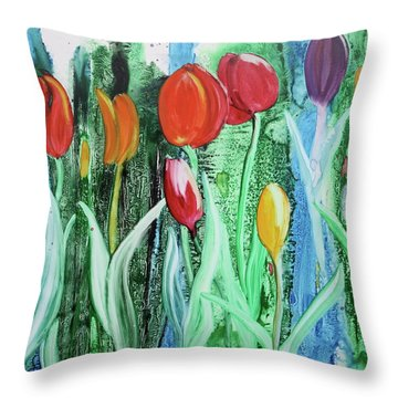 Throw Pillow featuring the painting Tulip Season by Nancy Jolley