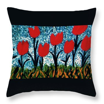 Tulip Time Throw Pillow