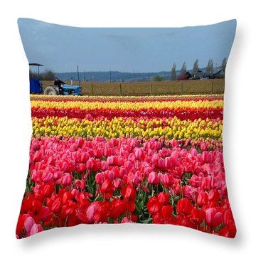 Tulip Town Wagon Throw Pillow by Karen Molenaar Terrell