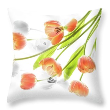 A Creative Presentation Of A Bouquet Of Tulips. Throw Pillow