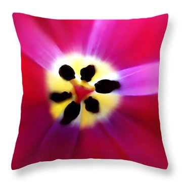 Tulip Vivid Floral Abstract Throw Pillow by Menega Sabidussi
