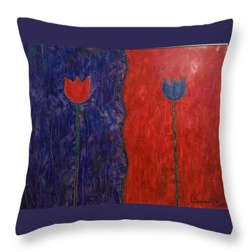 Throw Pillow featuring the painting Tulip by Walter Casaravilla