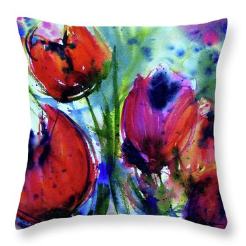 Throw Pillow featuring the painting Tulips 1 by Marti Green