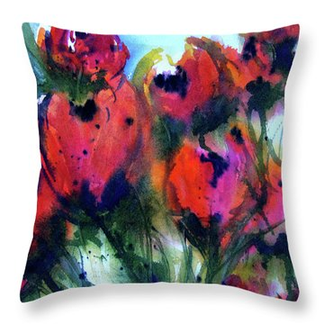 Throw Pillow featuring the painting Tulips 2 by Marti Green