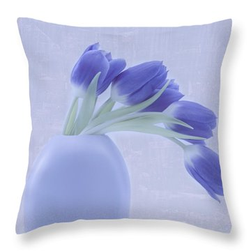 Tulips And Birdies  Throw Pillow