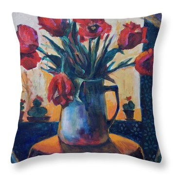 Tulips And Cacti Throw Pillow by Maxim Komissarchik
